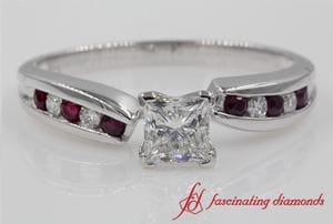 Unique Swirl Diamond Ring With Ruby In White Gold