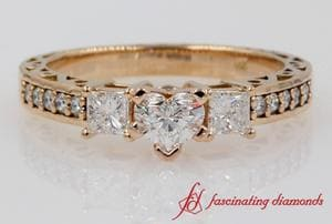 Vintage 3 Stone Diamond Engagement Ring In 18k Rose Gold
