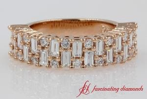 Vintage Baguette Wedding Band In Rose Gold
