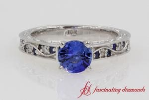 Customized Vintage Colored Engagement Ring In 18K White Gold