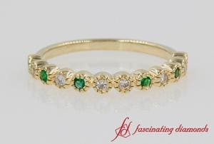 Emerald Vintage Diamond Band