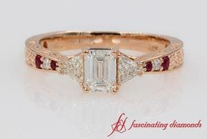 Vintage Emerald Cut & Trillion Diamond Ruby Ring