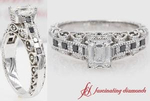 Vintage Emerald Cut Wedding Ring With Black Diamond In White Gold