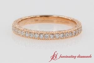 Vintage Engraved Diamond Band In Rose Gold