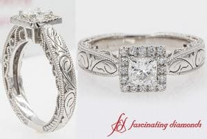 Vintage Filigree Halo Engagement Ring In White Gold