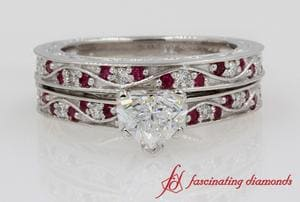 Vintage Heart Diamond Bridal Set With Ruby In 18k White Gold
