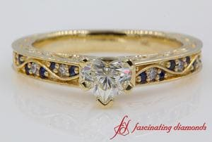 Vintage Heart Diamond Engagement Ring With Sapphire In Gold