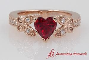 Customized Vintage Heart Ruby Wedding Diamond Ring In Rose Gold