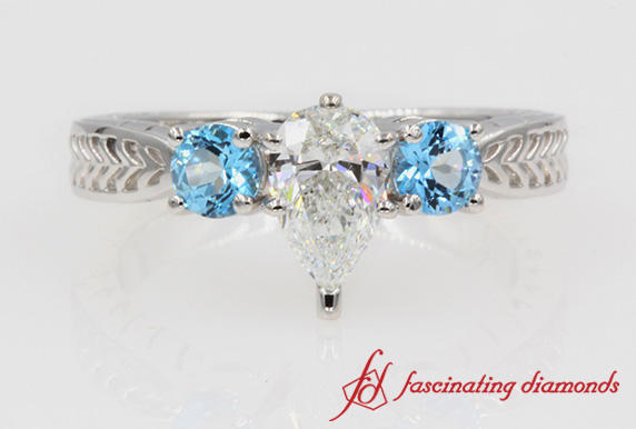 Pear Diamond & Topaz 3 Stone Ring