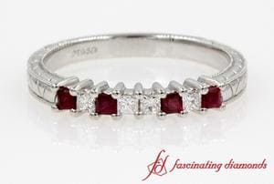 Vintage Princess Cut Diamond With Ruby Band In White Gold