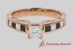 Vintage Princess Cut Engagement Ring In Rose Gold