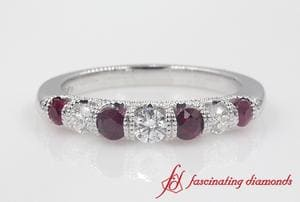 Vintage Seven Stone Womens Wedding Band With Ruby In Platinum