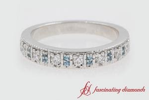 Vintage Wedding Band With Blue Topaz In White Gold