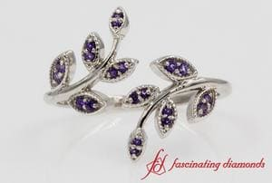 Violet Topaz Open Leaf Ring In White Gold