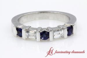 Channel Bar Set Round Blue Sapphire And Baguette Wedding Band