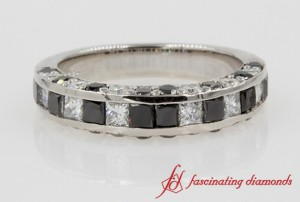White & Black Diamond Wedding Band In Platinum