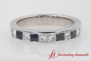 White & Black Diamond Wedding Band In White Gold