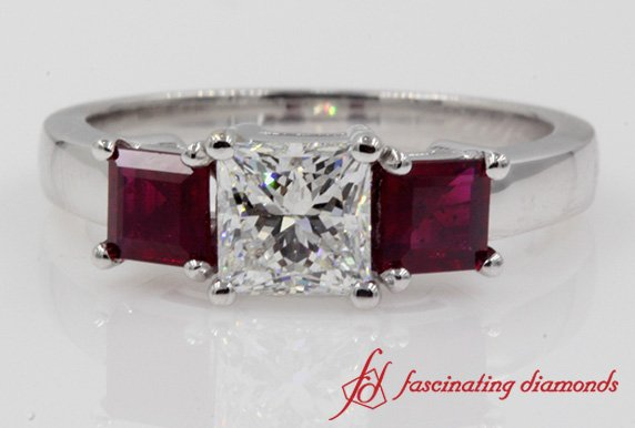 White Gold Princess Cut Ruby 3 Stone Engagement Ring