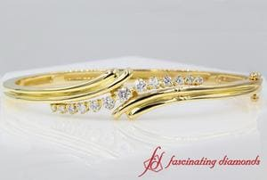 Women Twist Diamond Bracelet Bangle In Gold