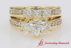 Womens Diamond Wedding Ring Set In Yellow Gold