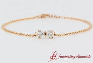 2 Heart Diamond Bow Design Bracelet