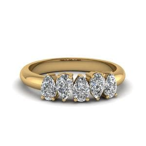 Pear Diamond Band 18K Yellow Gold