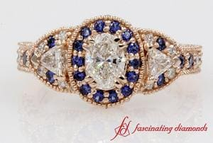 Halo Sapphire Antique Ring