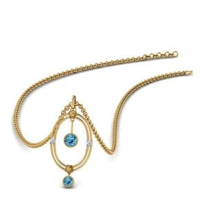 Blue Topaz Oval Design Pendant