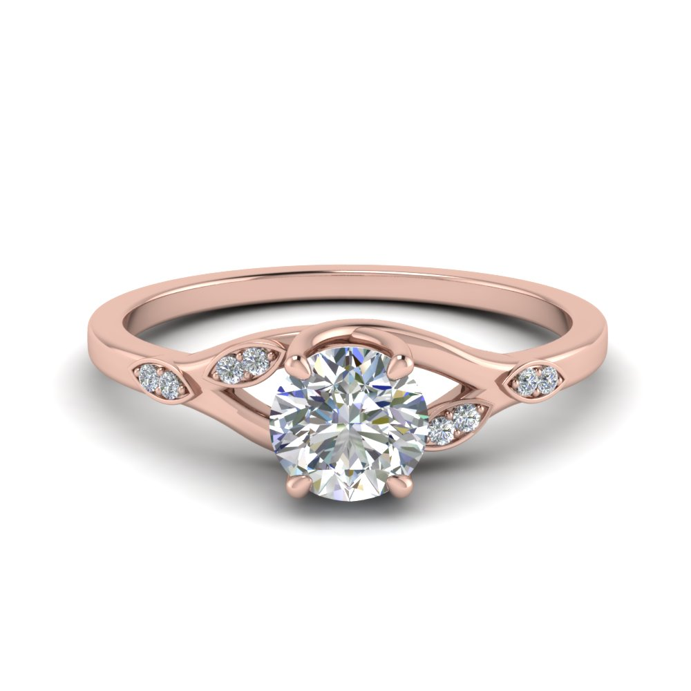 Nature Inspired  Diamond Engagement Ring In 18K Rose Gold