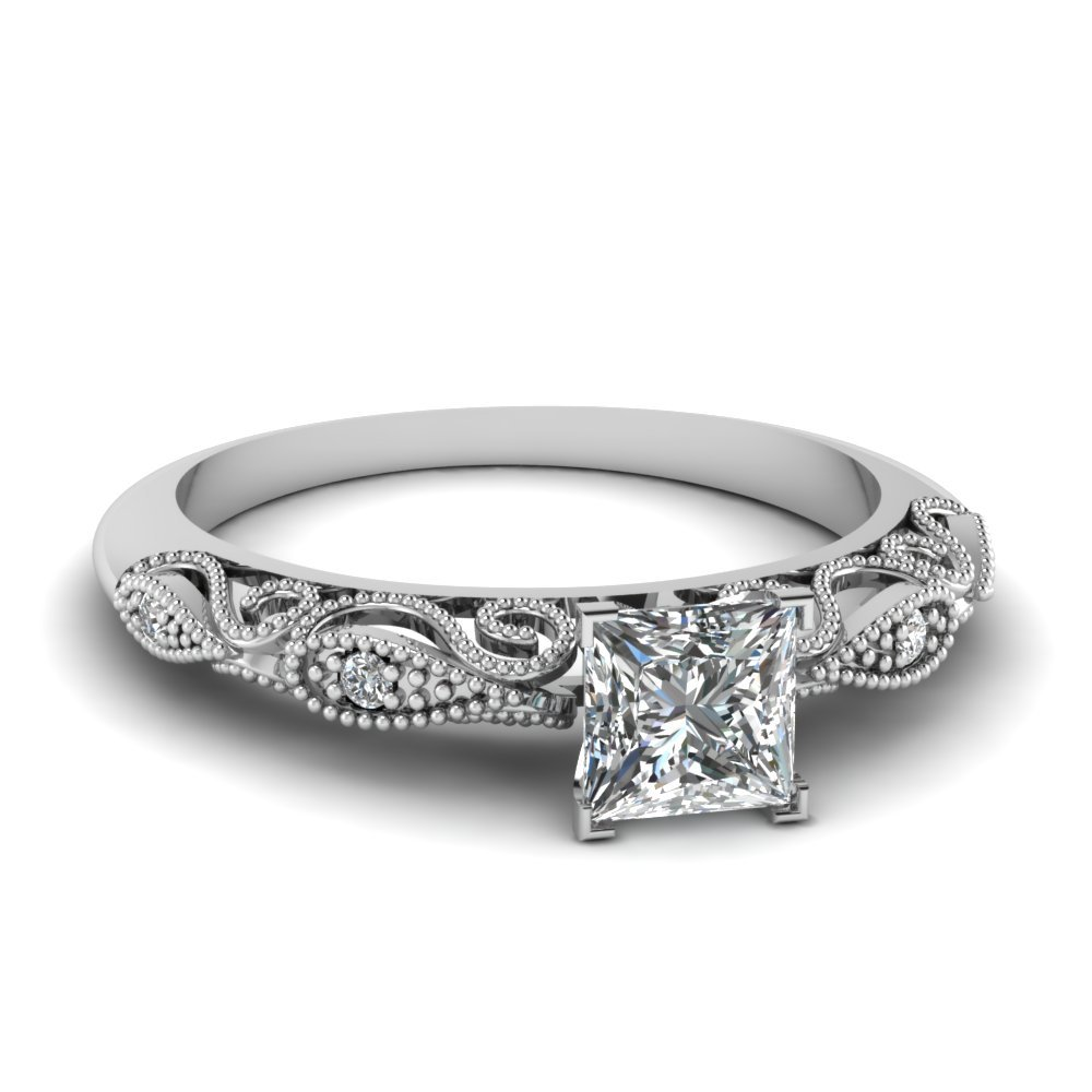 0.5 Ct. Princess Cut Milgrain Paisley Diamond Engagement Ring In 950 Platinum
