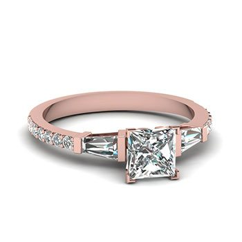 3/4 Ct. Baguette And Princess Diamond Petite Ring