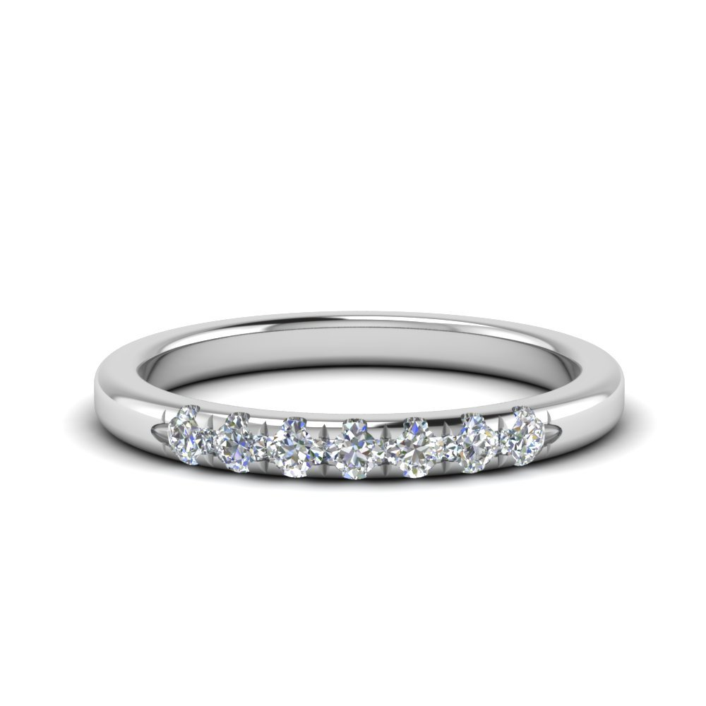 Anniversary Thin Band 7 Stone In 14K White Gold