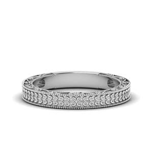 Antique Carved Wedding Band In 14K White Gold