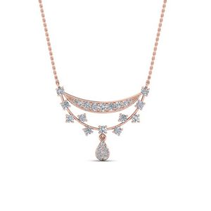 Antique Design Drop Diamond Pendant In 14K Rose Gold