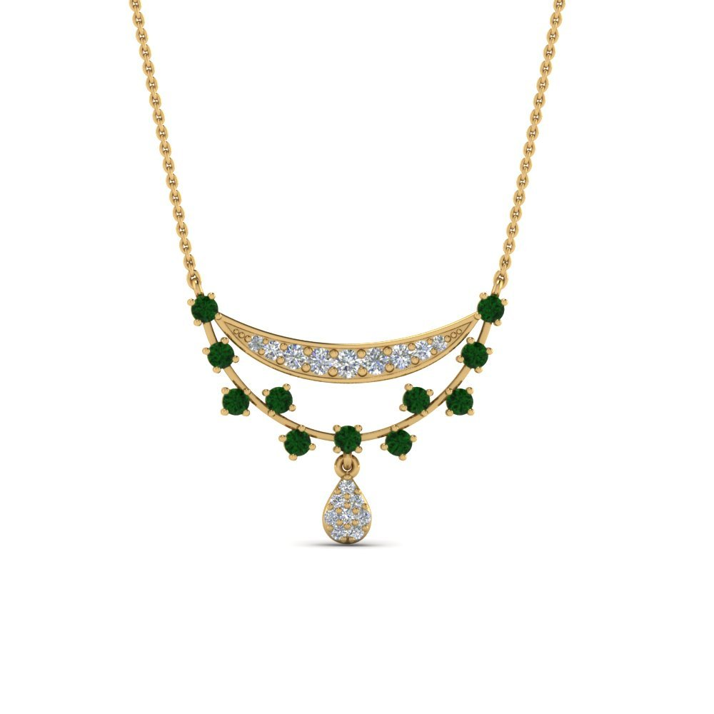 Antique Design Drop Diamond Pendant With Emerald In 14K Yellow Gold