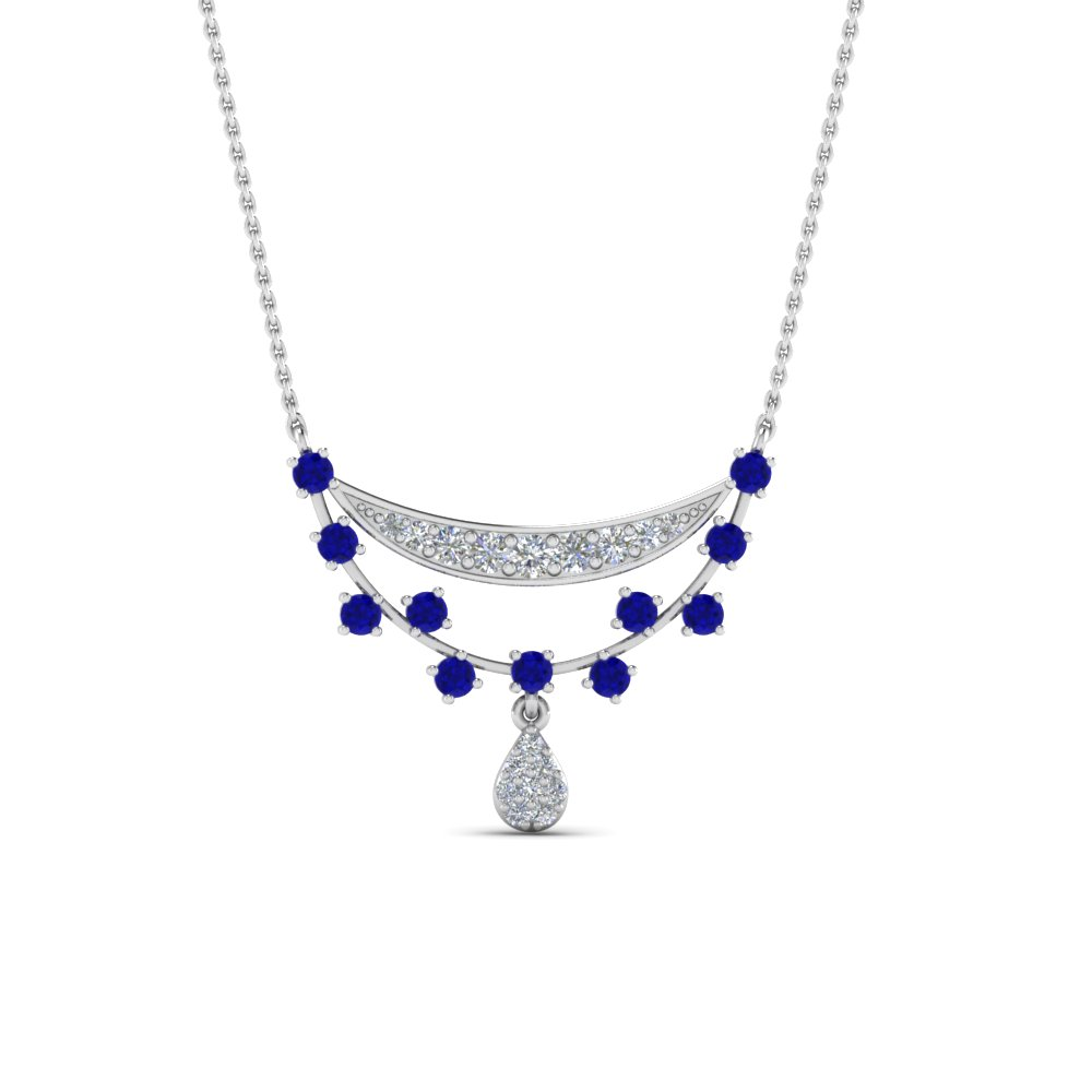 Antique Design Drop Diamond Pendant With Sapphire In 14K White Gold