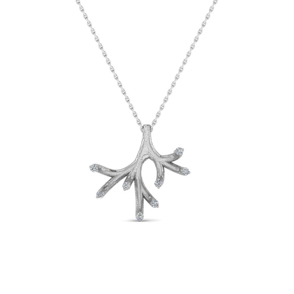 Antique Diamond Branch Pendant In 14K White Gold