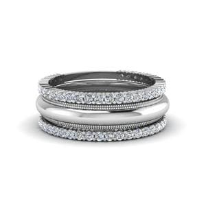 White Gold Beautiful Diamond Stackable Bands
