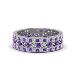 Platinum Purple Topaz Stack Bands