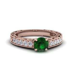 Antique Emerald Engagement Ring In 14K Rose Gold