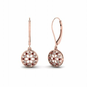 Floral Ruby Earring For Her