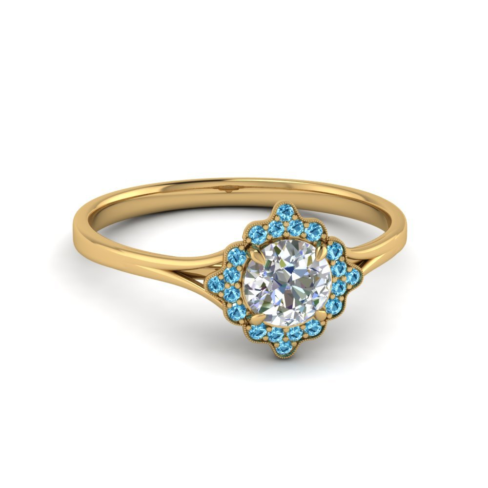 Halo Ring With Blue Topaz