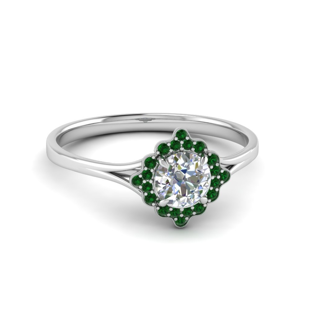 Emerald Halo Milgrain Ring