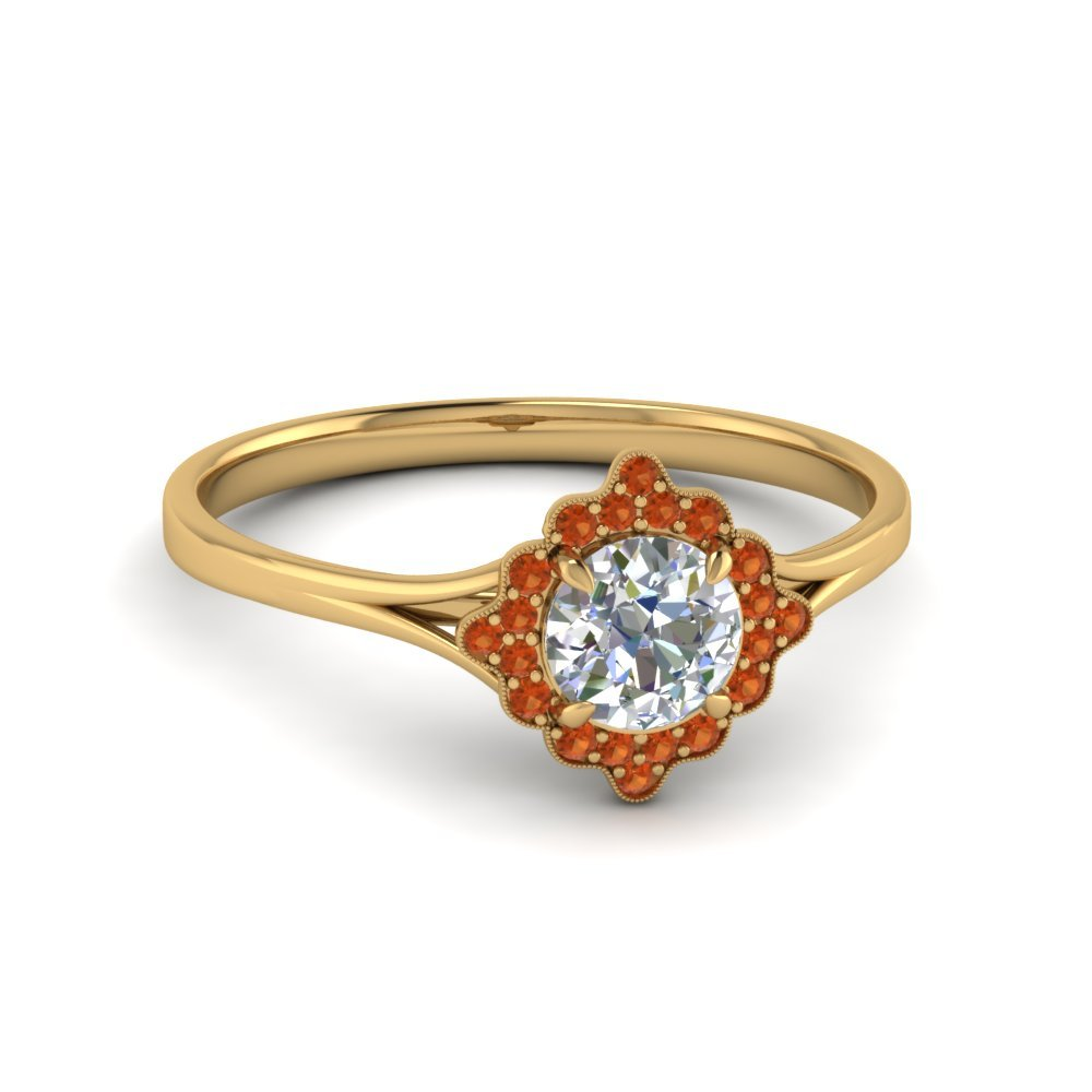 Antique Halo Round Diamond Engagement Ring With Orange Sapphire In 14K Yellow Gold