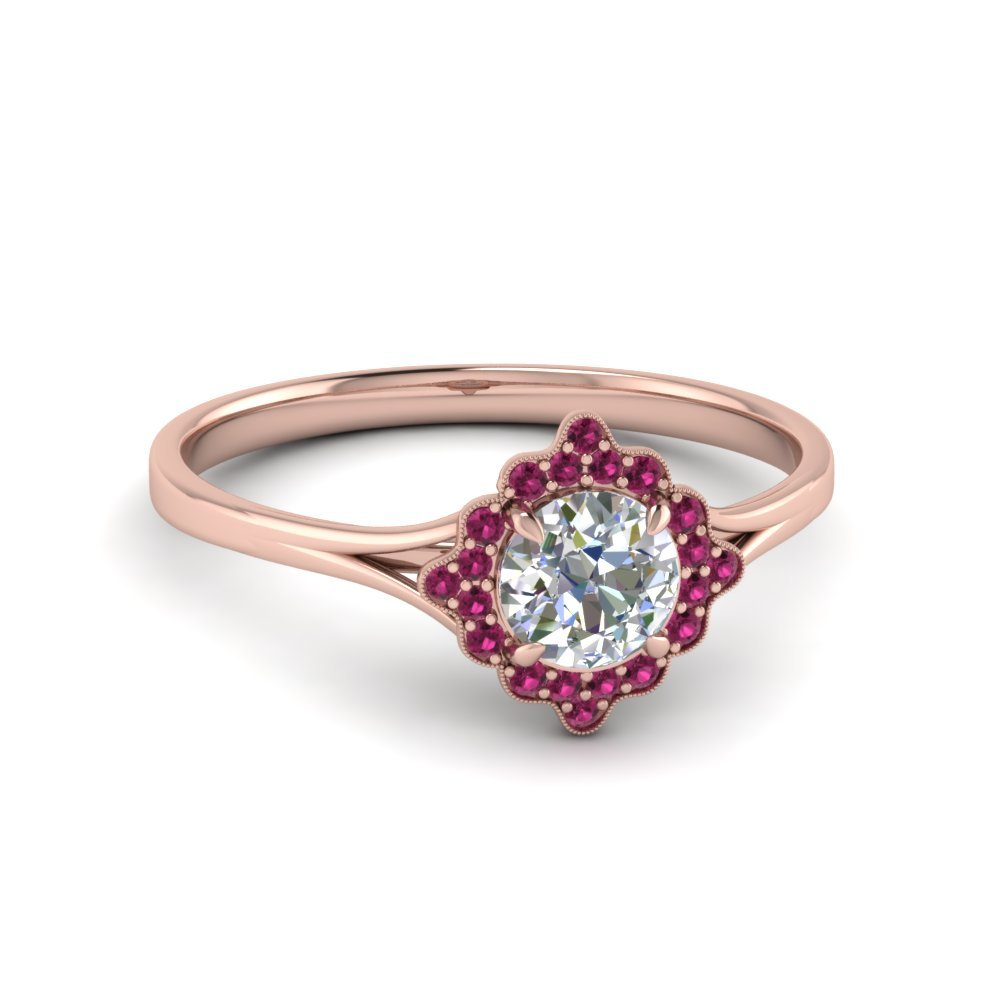 Antique Halo Round Diamond Engagement Ring With Pink Sapphire In 14K Rose Gold