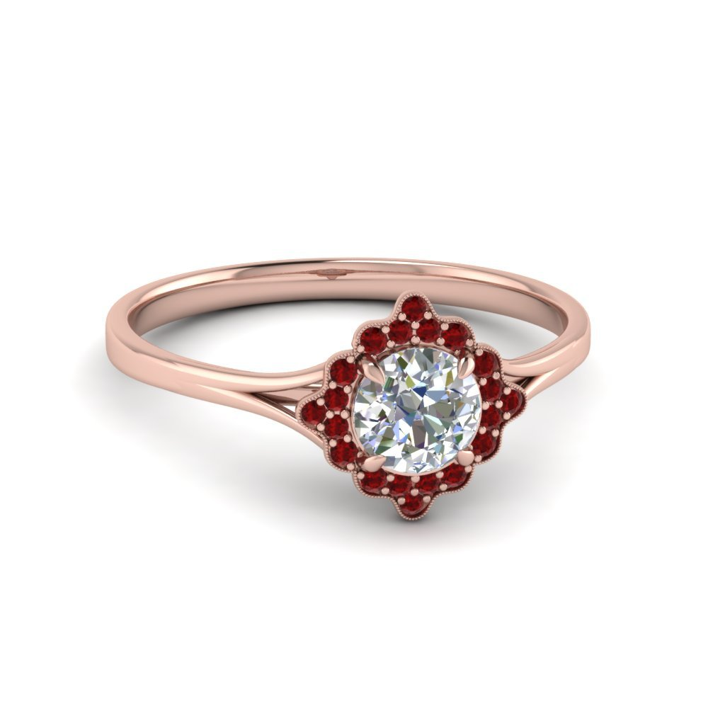 Antique Halo Ring With Ruby