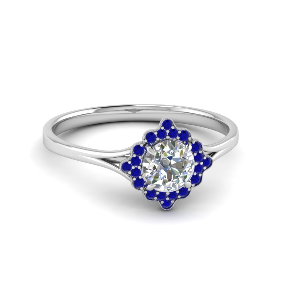 Antique Halo Round Diamond Engagement Ring With Sapphire In 14K White Gold