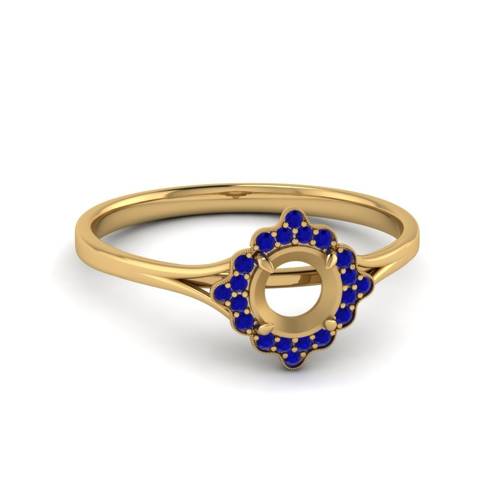 Antique Halo Round Diamond Engagement Ring With Sapphire In 14K Yellow Gold