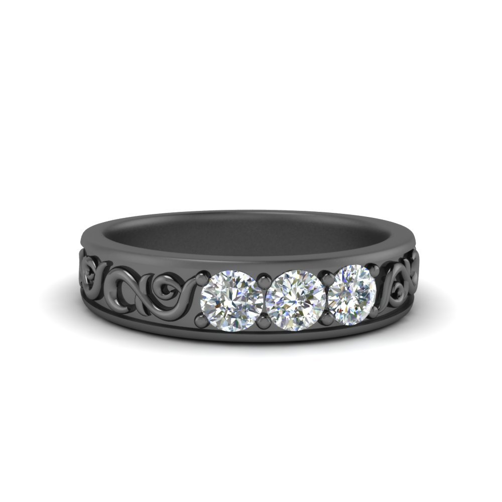 Antique Black Gold Diamond Band