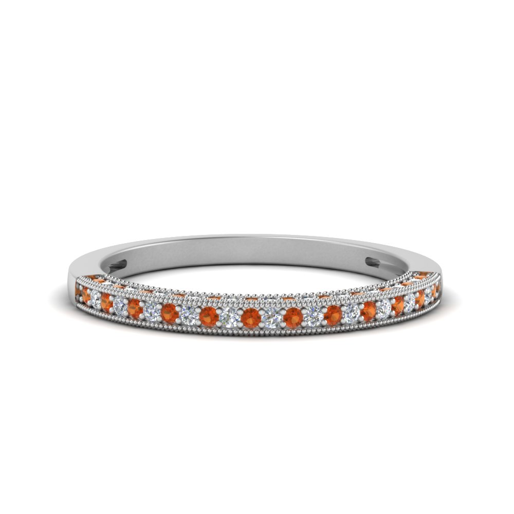Antique Pave Diamond Wedding Band With Orange Sapphire In 14K White Gold
